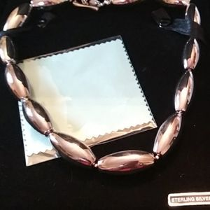 Sterling silver bold bead necklace NIB